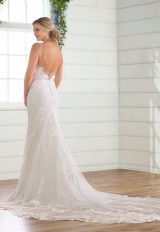 Spaghetti Strap V-neckline Embroidered Lace Sheath Wedding Dress by Essense of Australia - Image 2