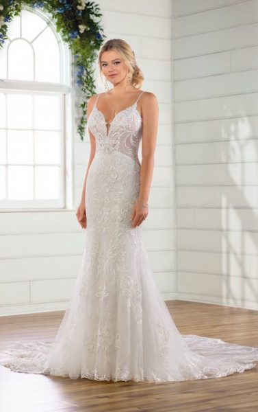 Spaghetti Strap V Neckline Embroidered Lace Sheath Wedding Dress