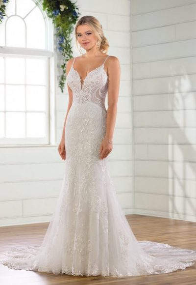 Spaghetti Strap V-neckline Embroidered Lace Sheath Wedding Dress by Essense of Australia