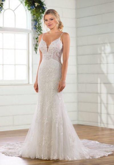 Spaghetti Strap V-neckline Embroidered Lace Sheath Wedding Dress by Essense of Australia