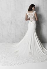 Cap Sleeve V-neck Sheath Wedding Dress With Detailed Train by Madison James - Image 2
