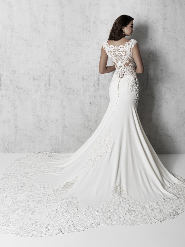 Cap Sleeve V-neck Sheath Wedding Dress With Detailed Train by Madison James - Image 2