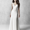 Cap Sleeve V-neck Sheath Wedding Dress With Detailed Train by Madison James - Image 1