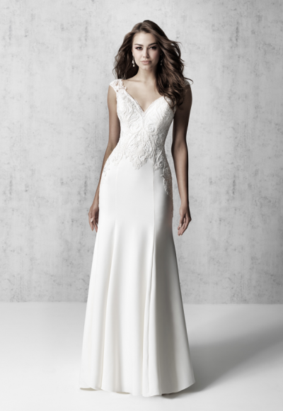 Cap Sleeve V-neck Sheath Wedding Dress With Detailed Train by Madison James