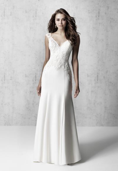 Cap Sleeve V-neck Sheath Wedding Dress With Detailed Train by Madison James