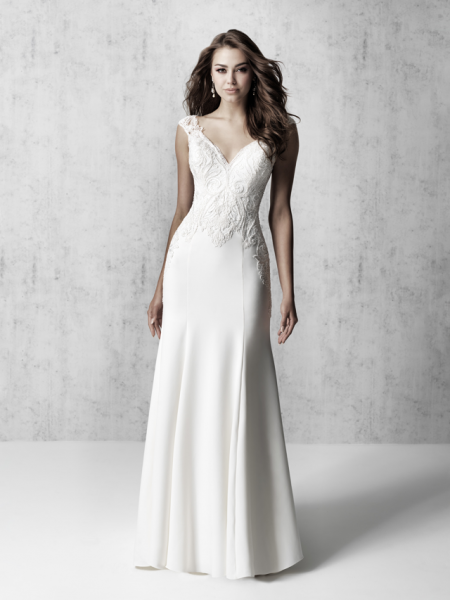 Cap Sleeve V-neck Sheath Wedding Dress With Detailed Train by Madison James - Image 1