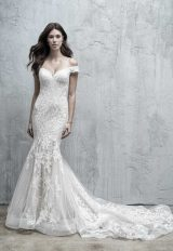Off The Shoulder Sweetheart Fit And Flare Wedding Dress With Embroidered Lace by Madison James - Image 1
