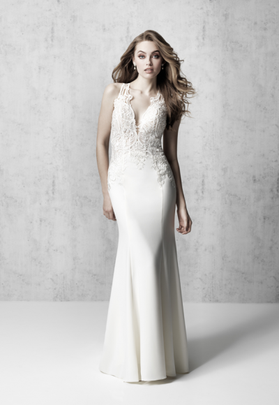 Sleeveless V-neckline Sheath Wedding Dress With Beaded Bodice by Madison James