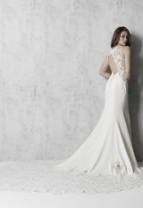 Sleeveless V-neckline Sheath Wedding Dress With Beaded Bodice by Madison James - Image 2