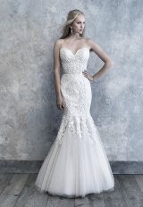Strapless Sweetheart Fit And Flare Wedding Dress With Lace Appliques by Madison James - Image 1