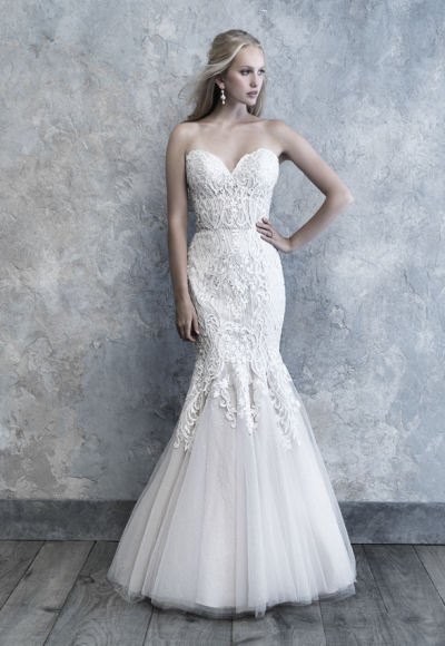 Strapless Sweetheart Fit And Flare Wedding Dress With Lace Appliques by Madison James