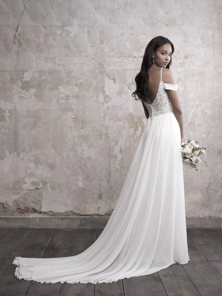 Sweetheart Bodice Silk Skirt A-line Wedding Dress by Madison James - Image 2