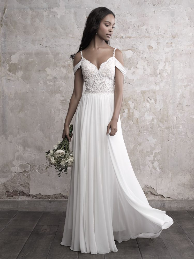 Sweetheart Bodice Silk Skirt A-line Wedding Dress by Madison James - Image 1