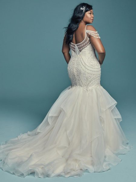 Off-the-shoulder V-neckline Beaded Lace Mermaid Wedding Dress With Ruffled Organza Skirt by Maggie Sottero - Image 2