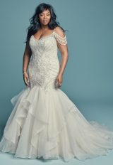 Off-the-shoulder V-neckline Beaded Lace Mermaid Wedding Dress With Ruffled Organza Skirt by Maggie Sottero - Image 1