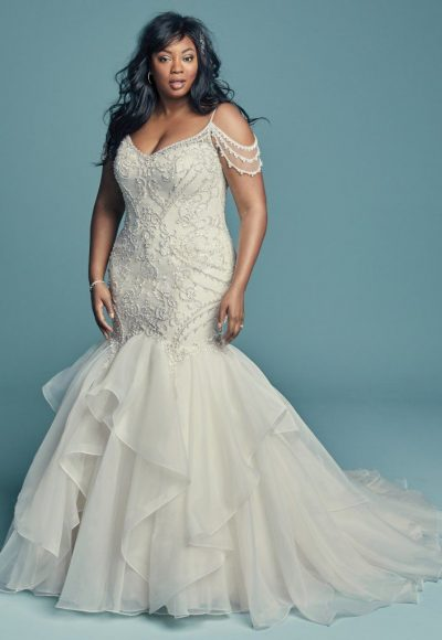 Off-the-shoulder V-neckline Beaded Lace Mermaid Wedding Dress With Ruffled Organza Skirt by Maggie Sottero