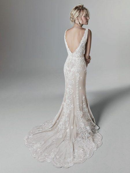 Sleeveless V-Neck Sheath Wedding Dress With Illusion V-back by Maggie Sottero - Image 2