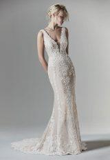 Sleeveless V-Neck Sheath Wedding Dress With Illusion V-back by Maggie Sottero - Image 1