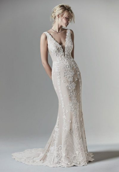 Sleeveless V-Neck Sheath Wedding Dress With Illusion V-back by Maggie Sottero