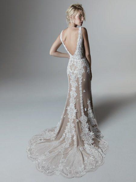 Sleeveless V-neckline Lace Sheath Wedding Dress by Maggie Sottero - Image 2