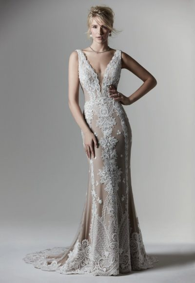 Sleeveless V-neckline Lace Sheath Wedding Dress by Maggie Sottero