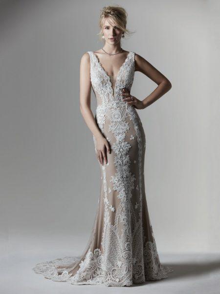 Sleeveless V-neckline Lace Sheath Wedding Dress by Maggie Sottero - Image 1