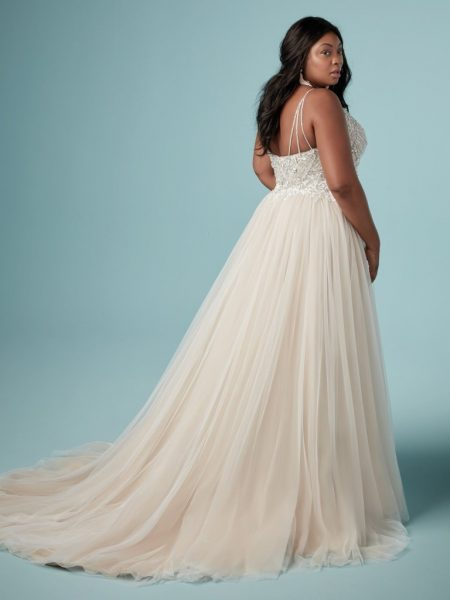 Spaghetti Strap V-neckline A-line Wedding Dress With Beaded Bodice by Maggie Sottero - Image 2