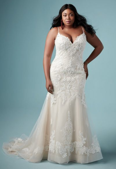 Spaghetti Strap V-neckline Lace Fit And Flare Wedding Dress by Maggie Sottero