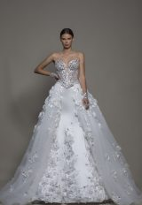 3-piece Wedding Dress With Strapless Corset, Satin Mermaid Skirt And Detachable Overskirt by Pnina Tornai - Image 1