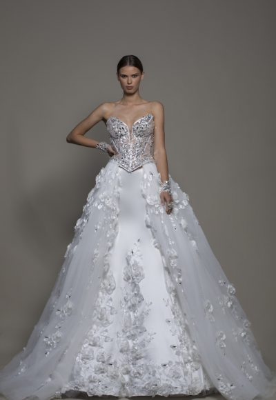 3-piece Wedding Dress With Strapless Corset, Satin Mermaid Skirt And Detachable Overskirt by Pnina Tornai