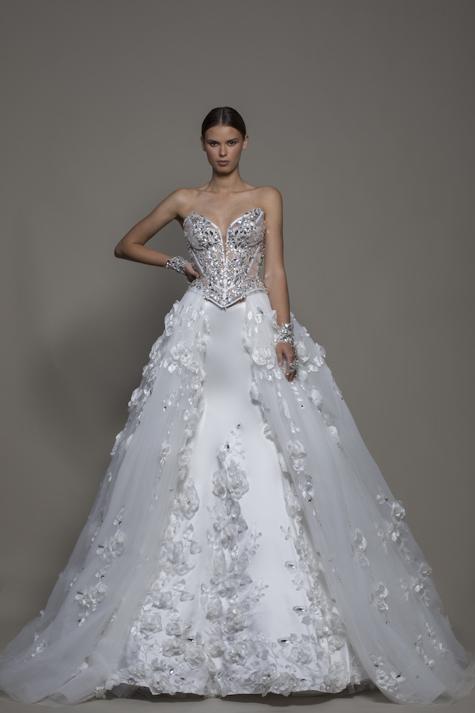 3 Piece Wedding Dress With Strapless Corset Satin Mermaid Skirt And Detachable Overskirt Kleinfeld Bridal