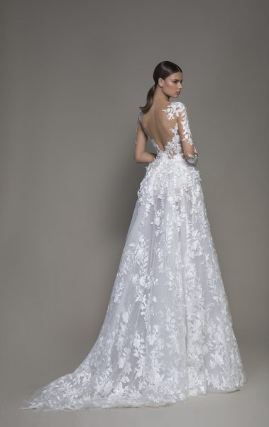 A-line Long Sleeve Floral Lace Wedding Dress With Plunging V-neckline by Pnina Tornai - Image 2