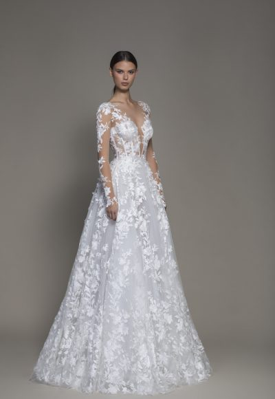 A-line Long Sleeve Floral Lace Wedding Dress With Plunging V-neckline by Pnina Tornai