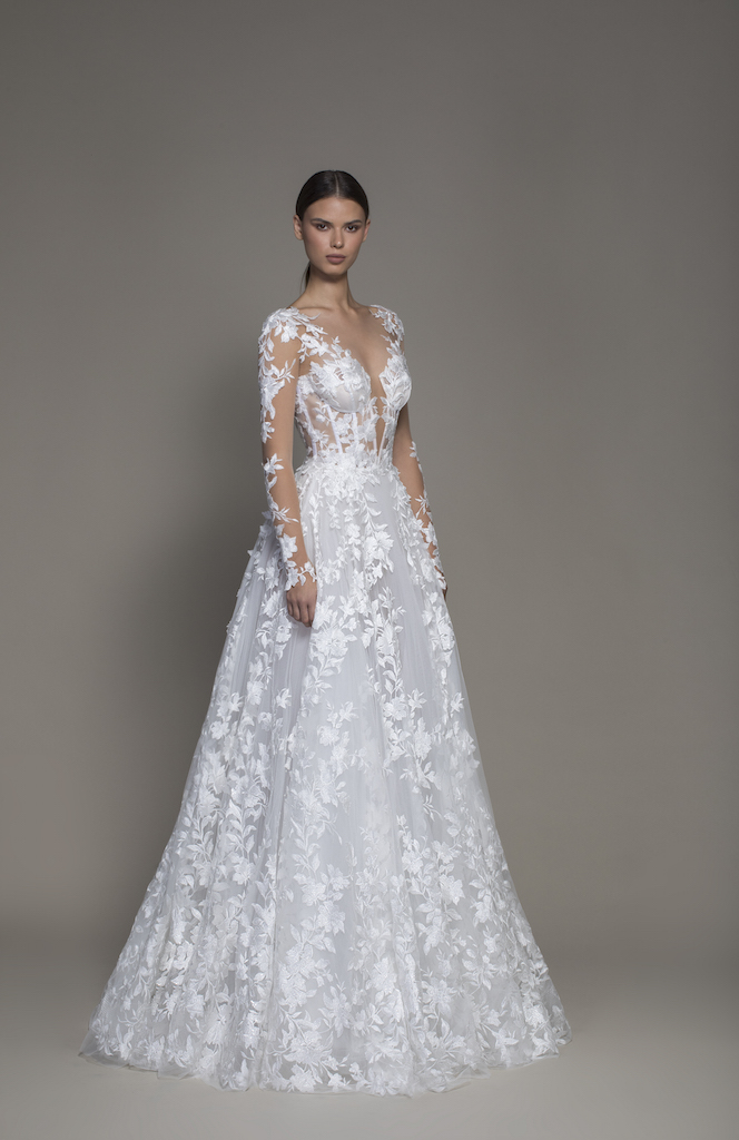 A Line Long Sleeve Floral Lace Wedding Dress With Plunging V
