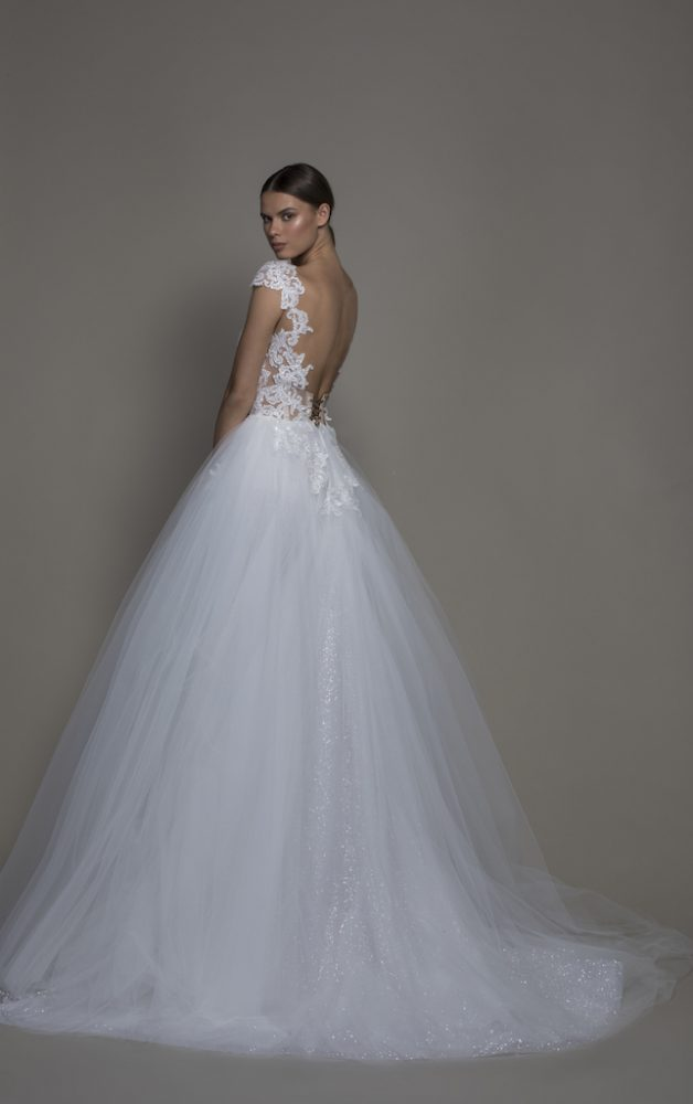 Cap Sleeve V-neckline Ball Gown Wedding Dress With Tulle Skirt by Pnina Tornai - Image 2