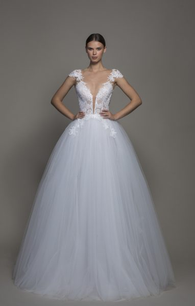 Cap Sleeve V-neckline Ball Gown Wedding Dress With Tulle Skirt by Pnina Tornai - Image 1