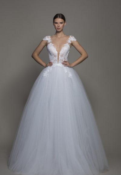 Cap Sleeve V-neckline Ball Gown Wedding Dress With Tulle Skirt by Pnina Tornai