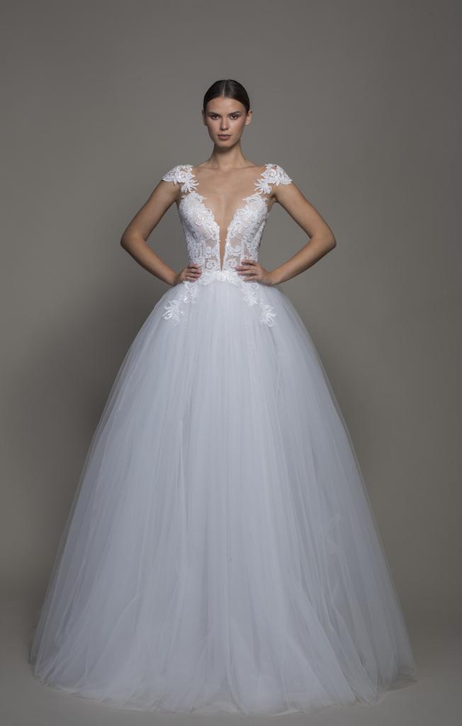 Cap Sleeve V Neckline Ball Gown Wedding Dress With Tulle Skirt Kleinfeld Bridal