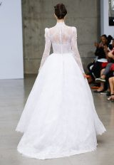 High Neck Long Sleeve Lace Ball Gown Wedding Dress With High-low Hem by Pnina Tornai - Image 2