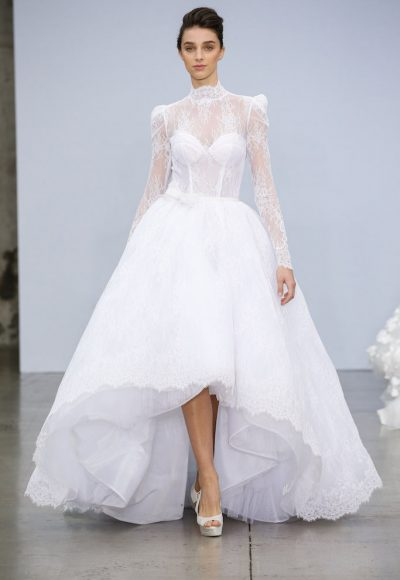 High Neck Long Sleeve Lace Ball Gown Wedding Dress With High-low Hem by Pnina Tornai