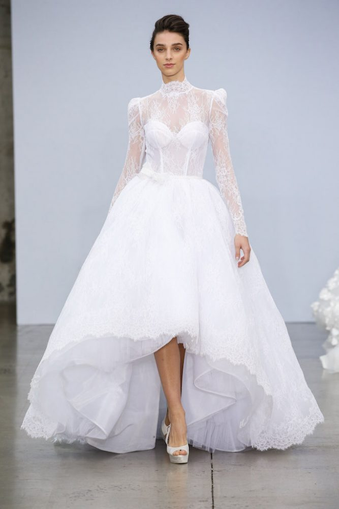 High Neck Long Sleeve Lace Ball Gown Wedding Dress With High-low Hem by Pnina Tornai - Image 1
