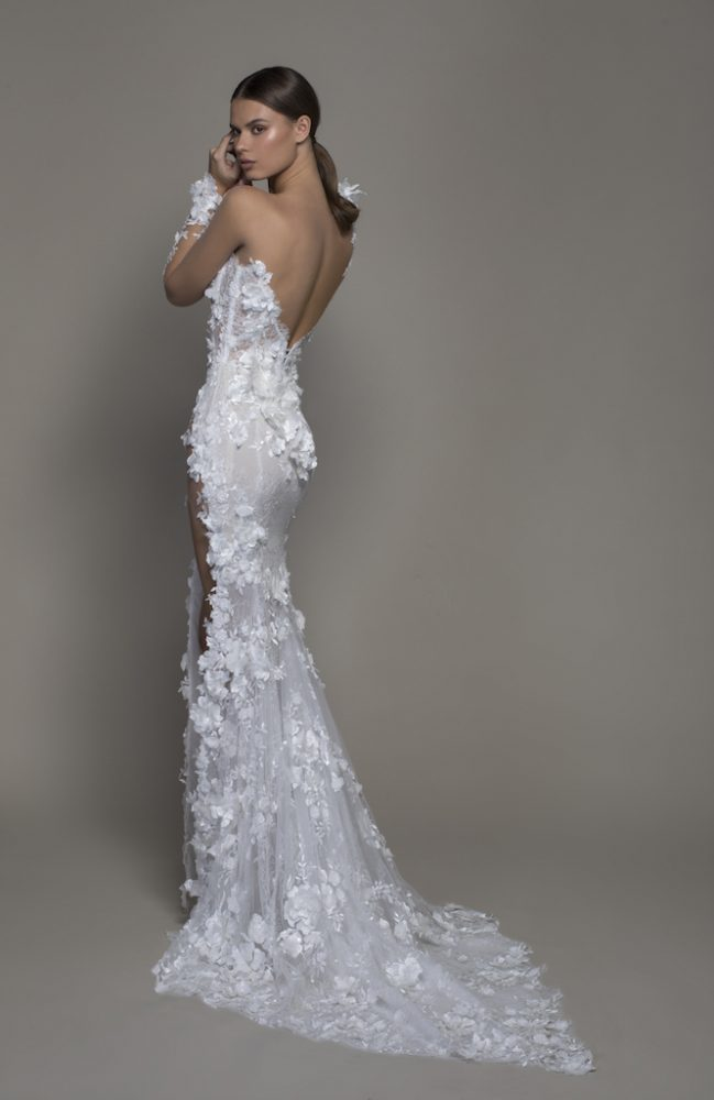 Illusion Long Sleeve Floral Lace Sheath Wedding Dress With Slit by Pnina Tornai - Image 2