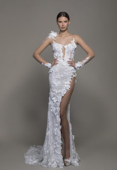 Illusion Long Sleeve Floral Lace Sheath Wedding Dress With Slit by Pnina Tornai