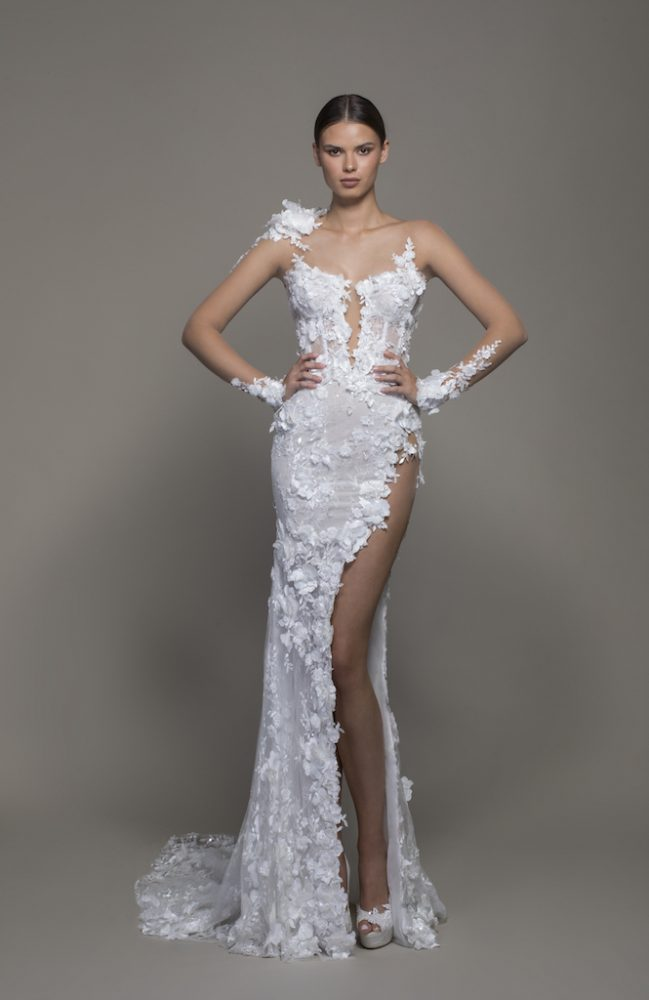 Illusion Long Sleeve Floral Lace Sheath Wedding Dress With Slit by Pnina Tornai - Image 1