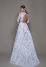 Illusion Long Sleeve White Sequin A-line Wedding Dress Plunging V-neckline by Pnina Tornai - Image 2