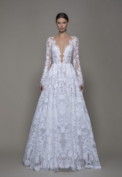 Illusion Long Sleeve White Sequin A-line Wedding Dress Plunging V-neckline by Pnina Tornai