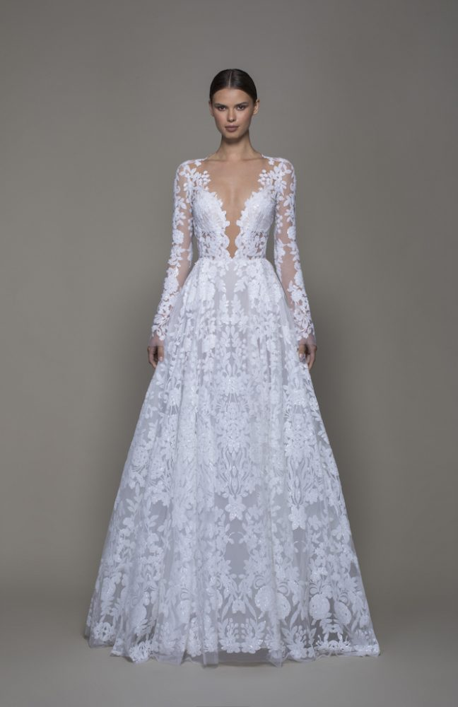 Illusion Long Sleeve White Sequin A-line Wedding Dress Plunging V-neckline by Pnina Tornai - Image 1