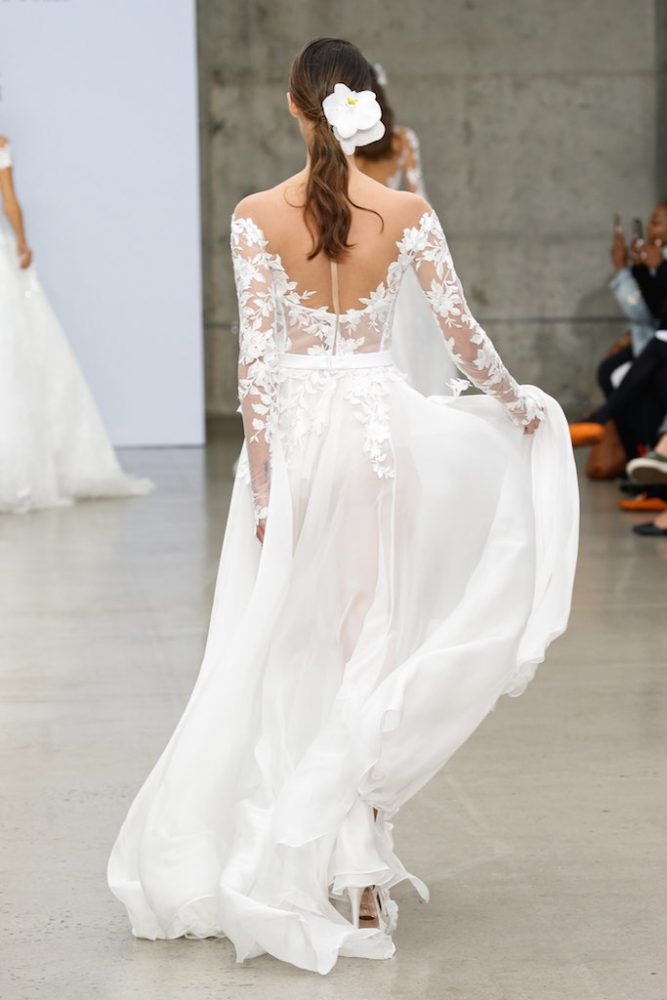 Illusion Off-the-shoulder Lace Long Sleeve Wedding Dress With Bodysuit, Corset And Chiffon Skirt by Pnina Tornai - Image 2