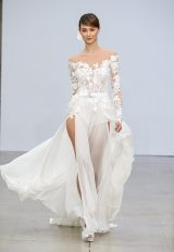 Illusion Off-the-shoulder Lace Long Sleeve Wedding Dress With Bodysuit, Corset And Chiffon Skirt by Pnina Tornai - Image 1