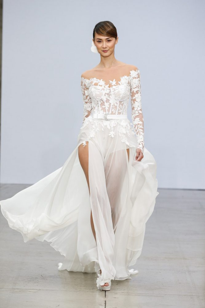 Illusion Off The Shoulder Lace Long Sleeve Wedding Dress With Bodysuit Corset And Chiffon Skirt Kleinfeld Bridal
